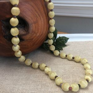 Vintage Yellow Silk Wrapped Beaded Necklace